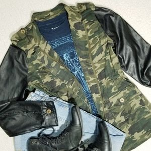 Camo & Vegan Leather Utility Jacket